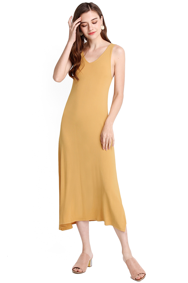 On A Road Trip Dress In Mustard Yellow
