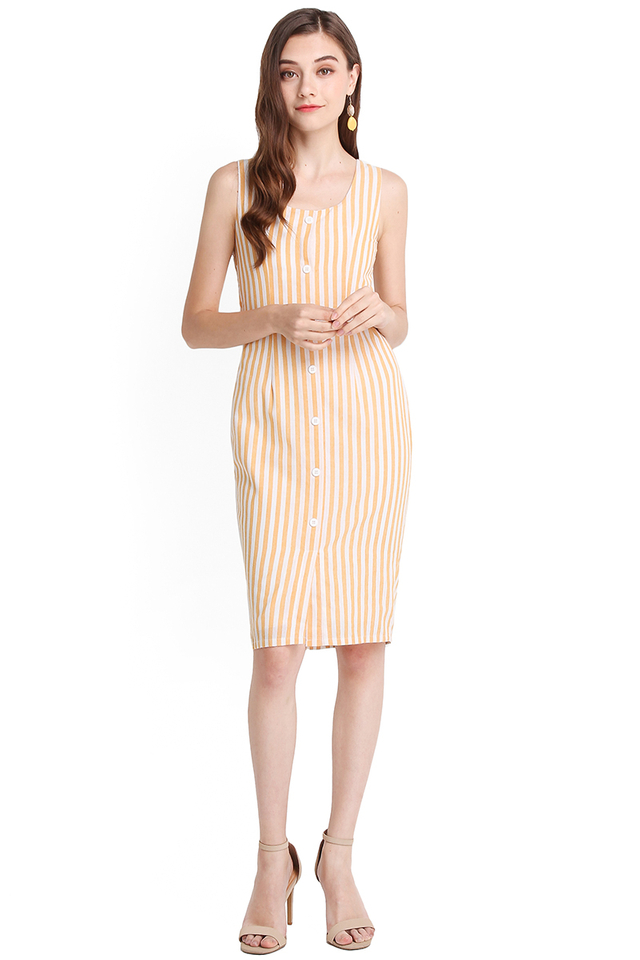 Delicate Silhouette Dress In Yellow Stripes