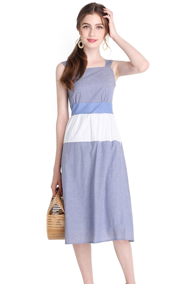 Starry Nights Dress In Blue Stripes