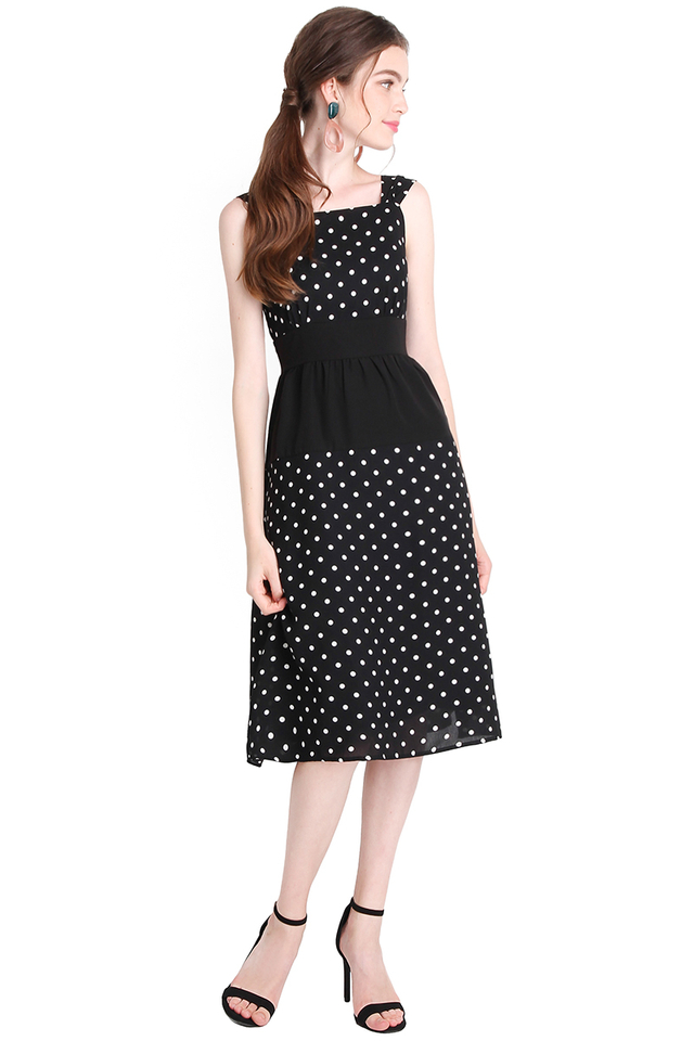 Starry Nights Dress In Black Dots