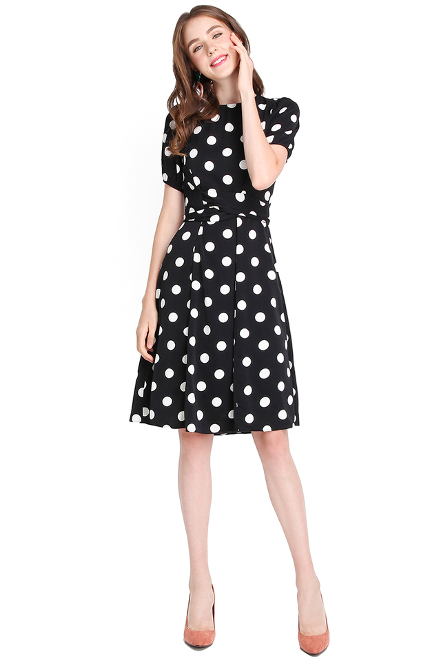My Fair Lady Dress In Black Polka Dots