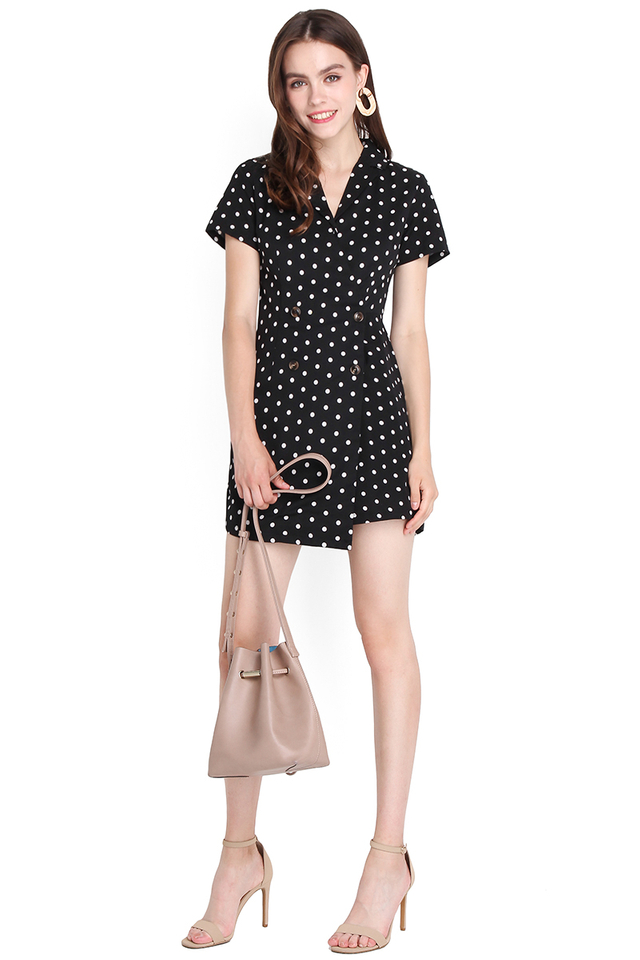 When In Rome Romper In Black Dots