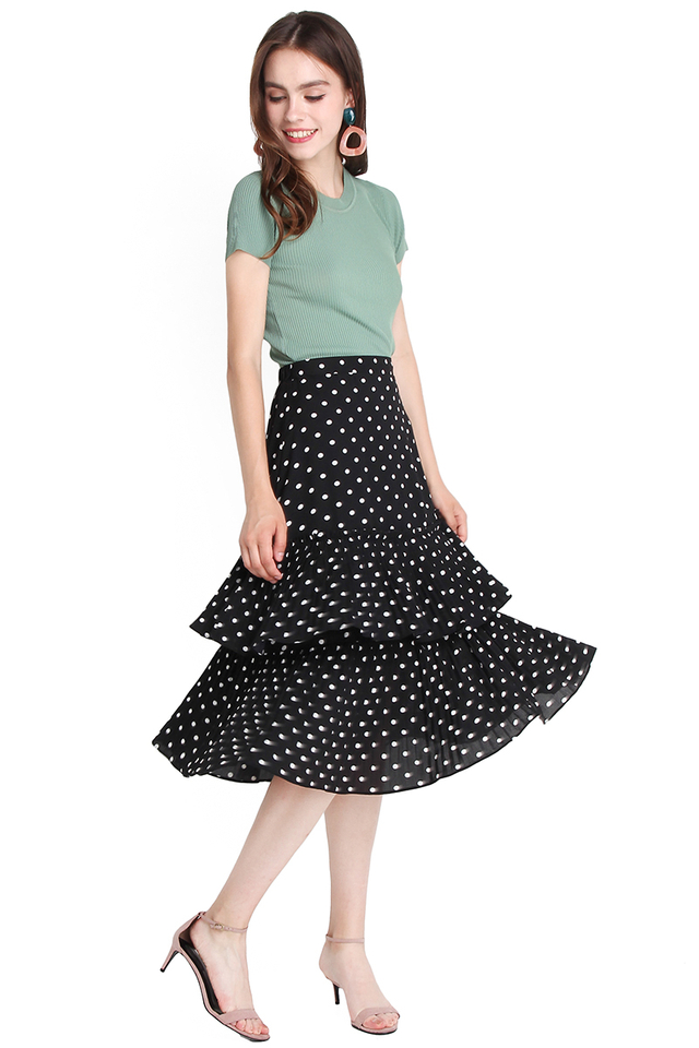 Upbeat Persona Skirt In Black Dots