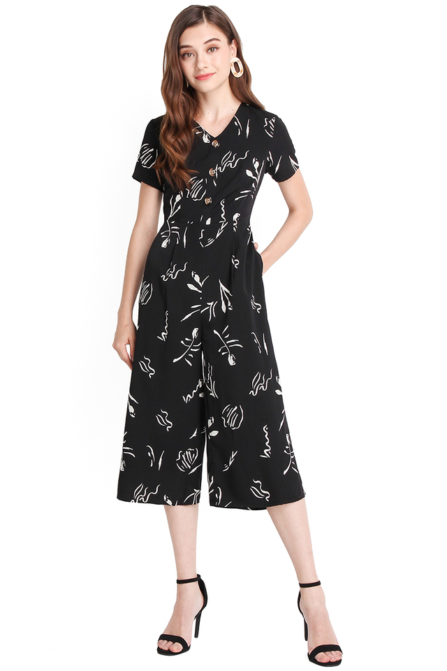 California Dreaming Romper In Black Prints