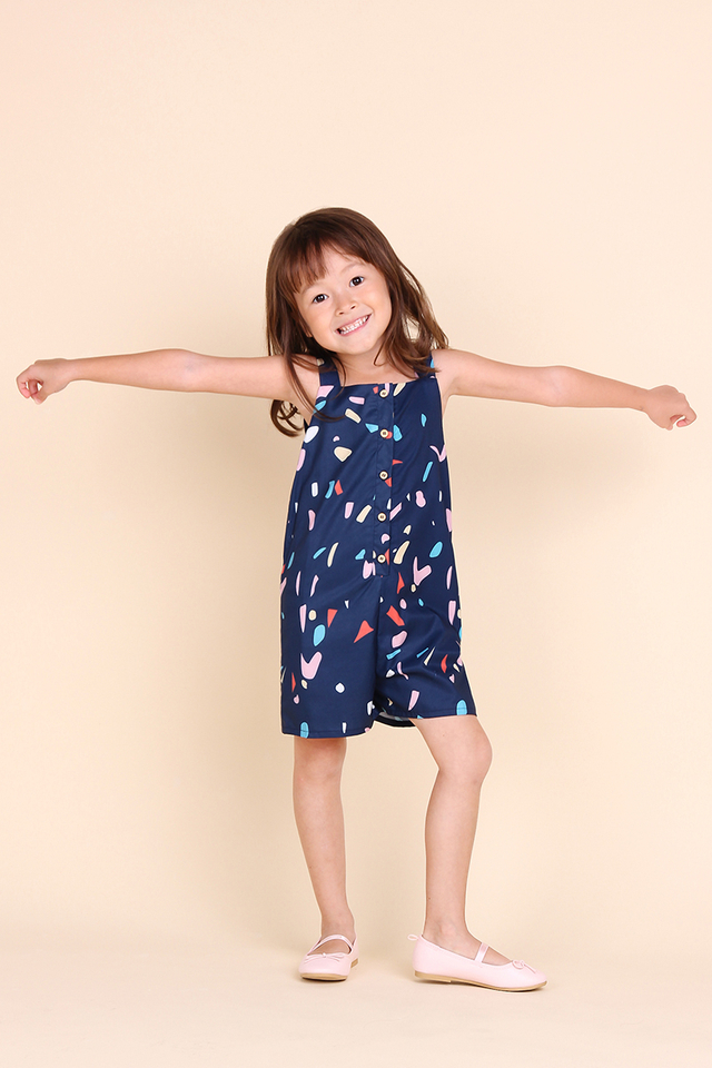 Jack And Jill Romper In Blue Confetti