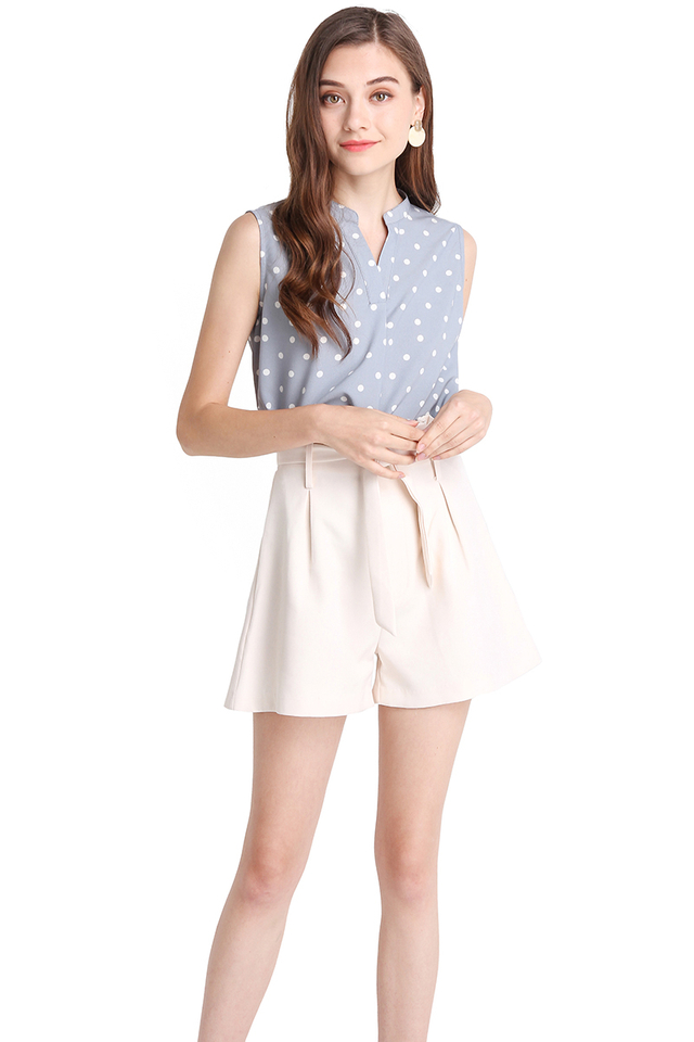 In Tune With Nature Top In Blue Polka Dots
