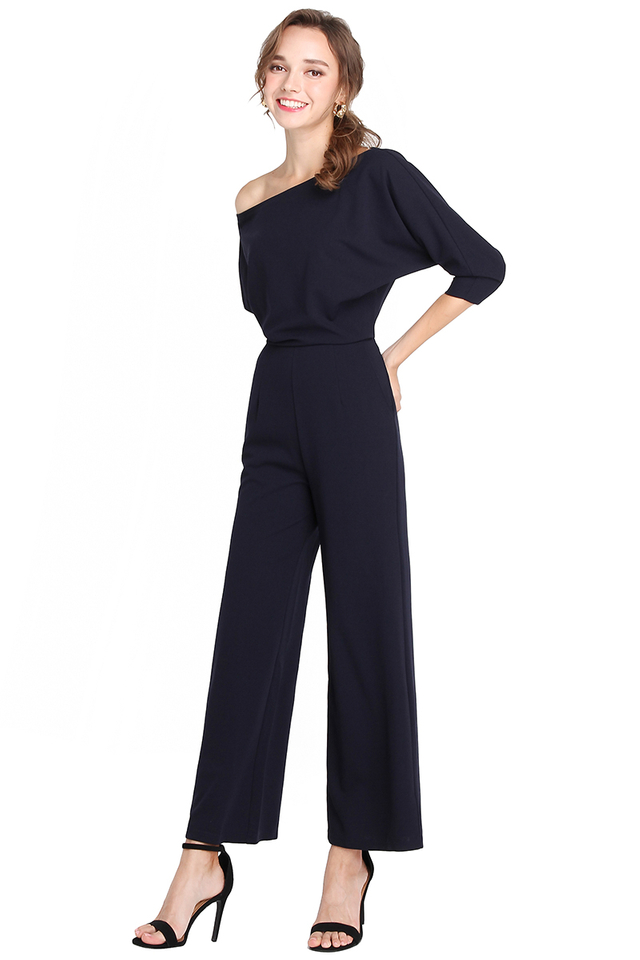 Pretty On Point Romper In Midnight Blue