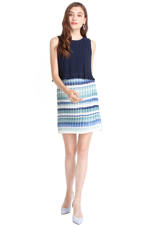 Mood Refresher Dress In Blue Stripes