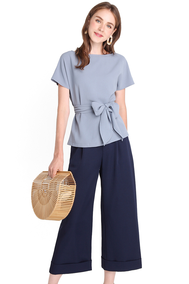 Weekday Simplicity Top In Muted Blue