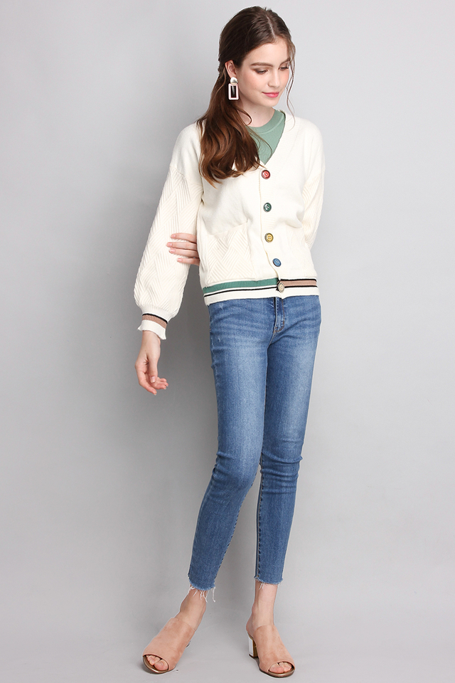 Primary Hues Cardigan In Ivory