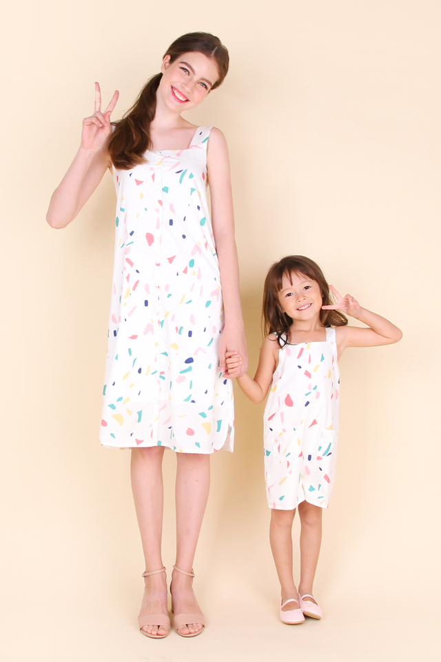 Jack And Jill Romper In White Confetti