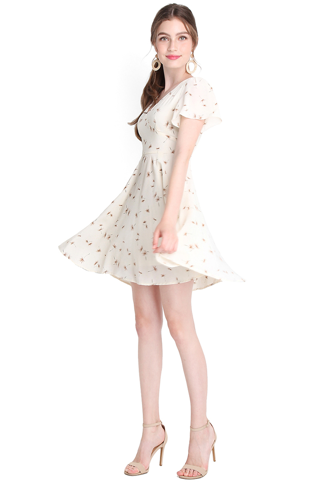 Spring Accent Dress In Ivory Dandelions