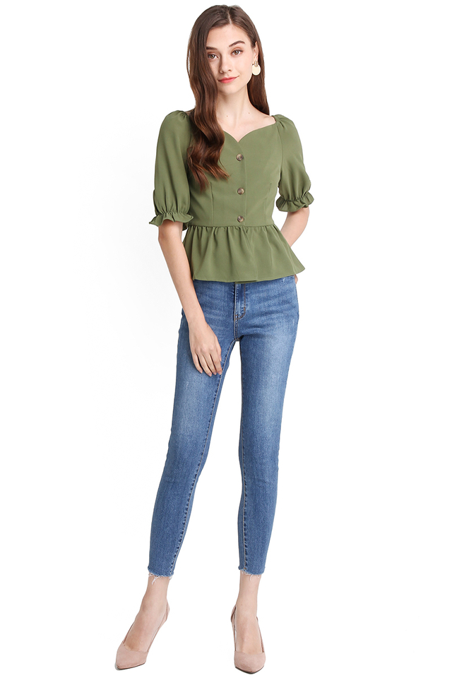 Paris Evenings Top In Olive Green
