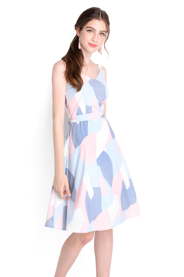 Pastel Summer Dress In Abstract Prints