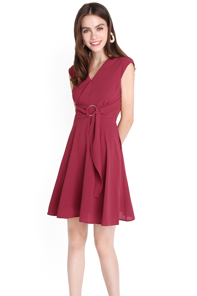 Folds Of Intricacy Dress In Wine Red