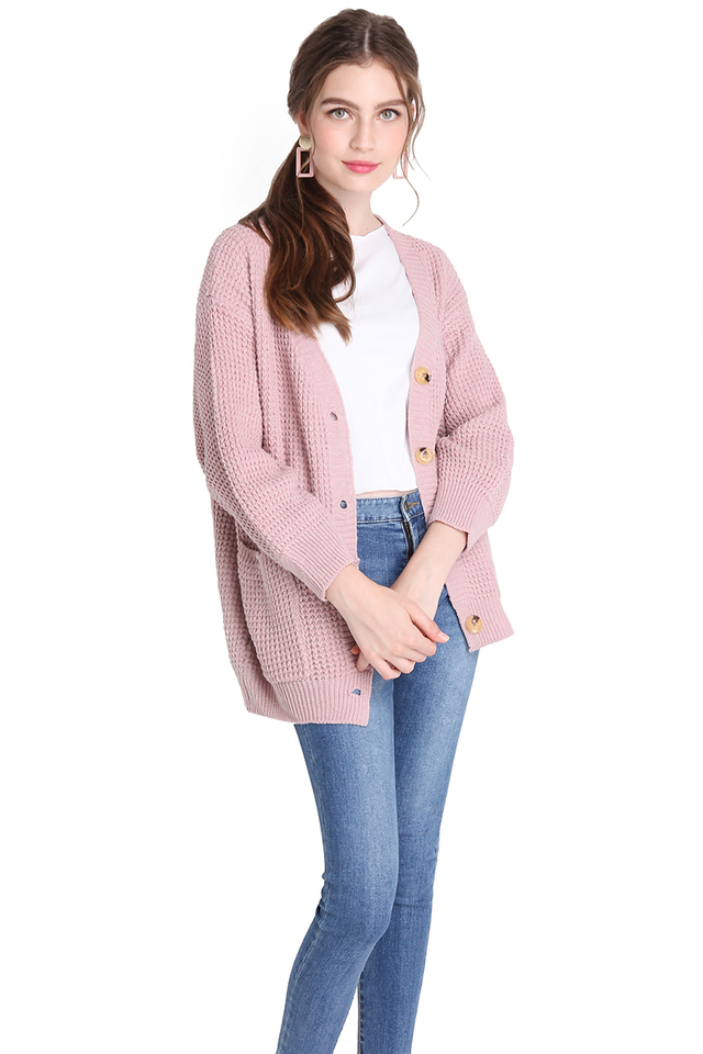 Keeping You Warm Cardigan In Dusty Pink
