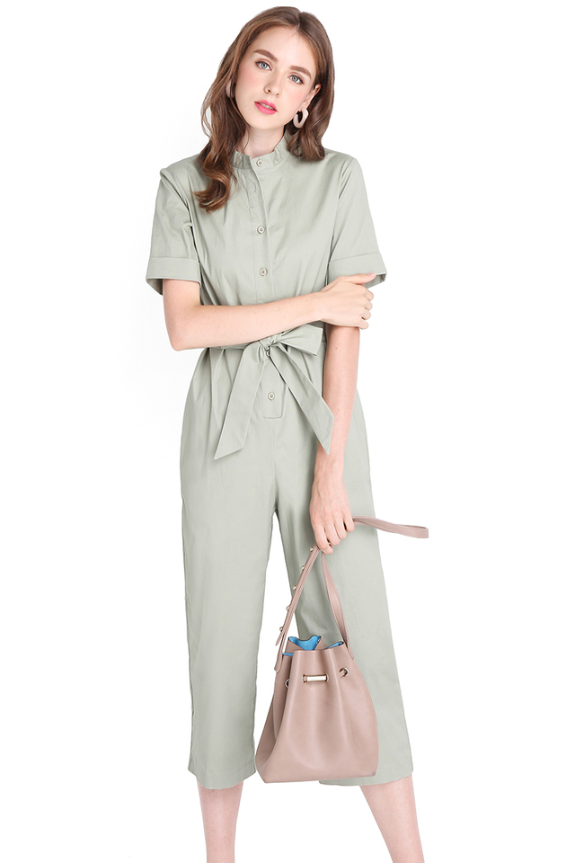 Safari Trip Romper In Sage Green