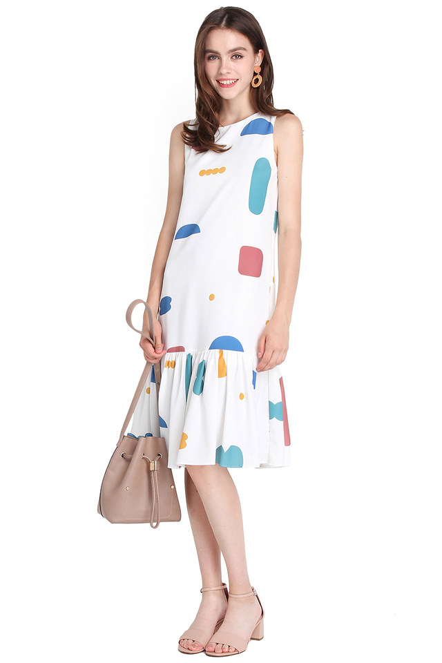 Think Big Dress In White Geometric Prints