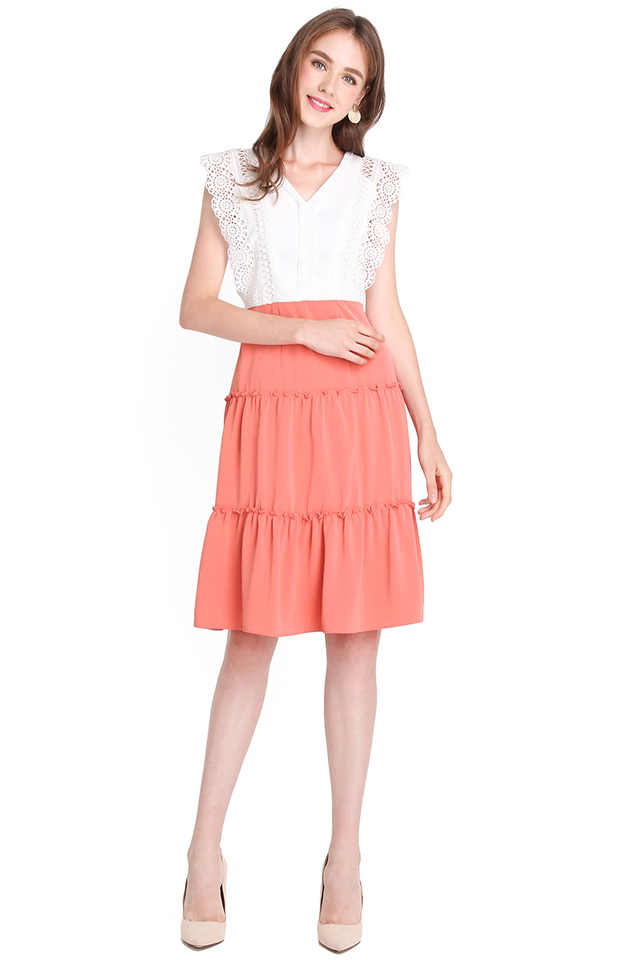 Ornamental Fun Dress In White Coral