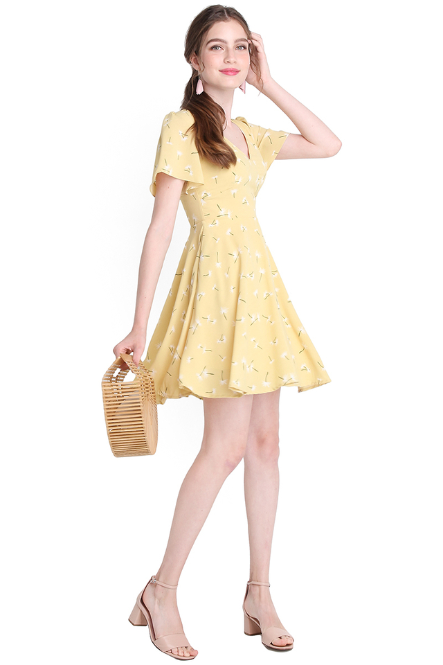 Spring Accent Dress In Yellow Dandelions