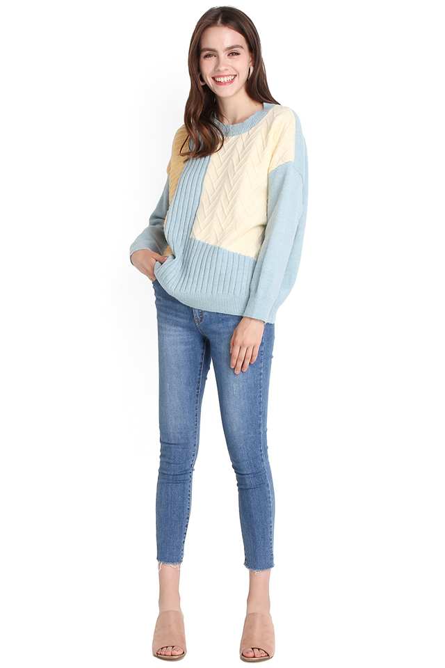 Snuggle Is Real Pullover In Sunshine Sky