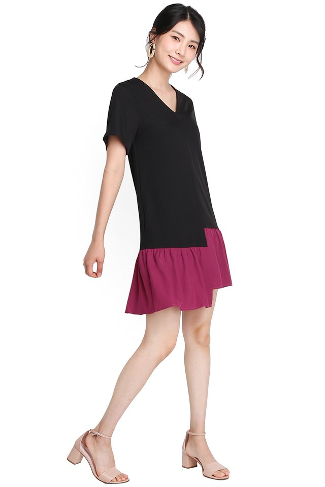 Highs And Lows Dress In Black Magenta