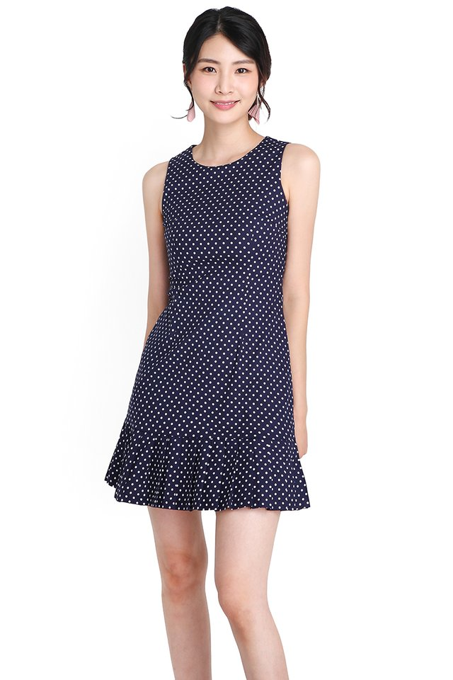 Off To A Good Start Dress In Blue Dots