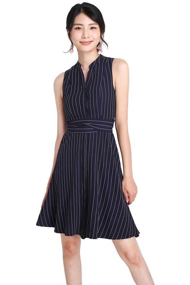 Dear Charlotte Dress In Blue Stripes