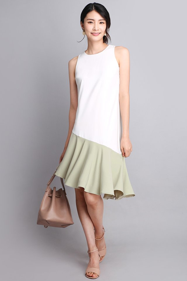 Winning Favour Dress In White Sage