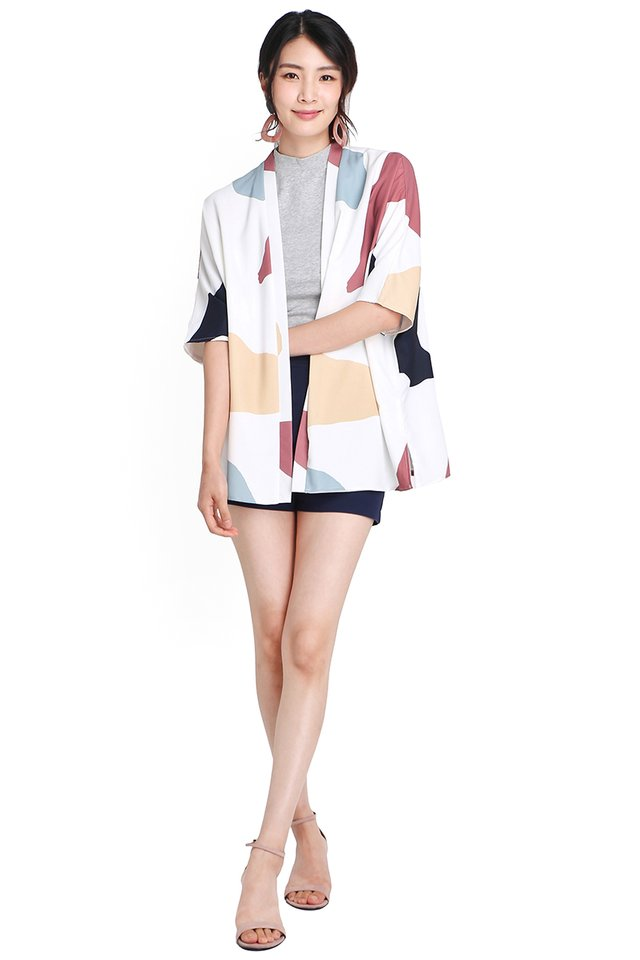 Game Theory Kimono In White Prints