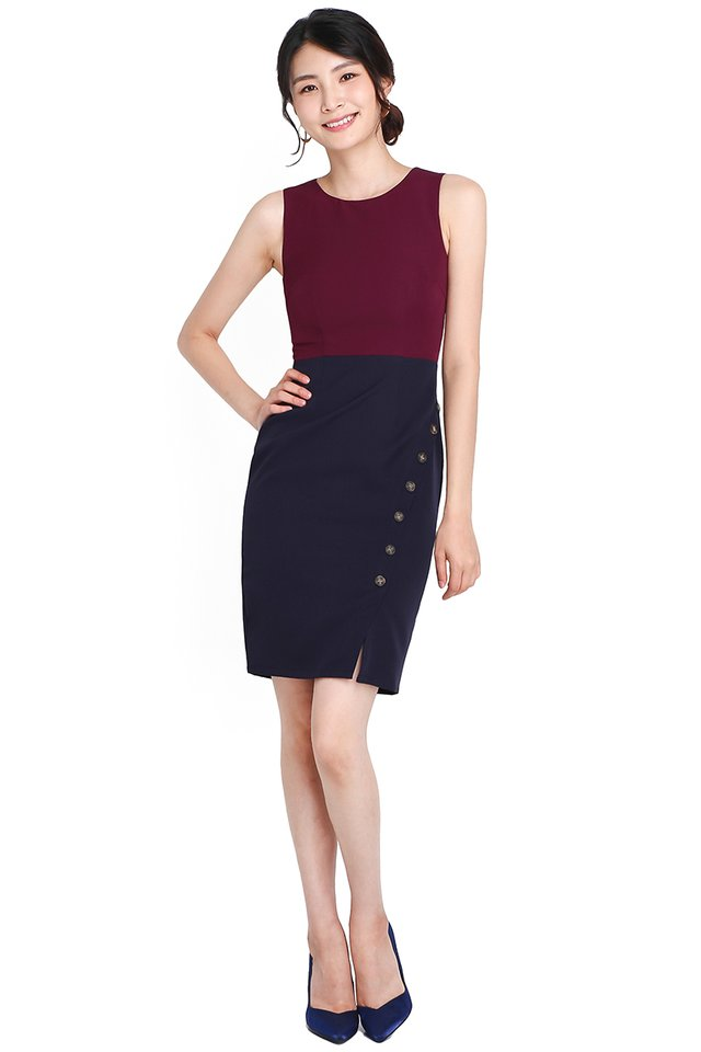 City Savvy Dress In Wine Blue