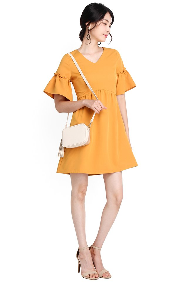 Breeze Into Summer Dress In Mustard Yellow