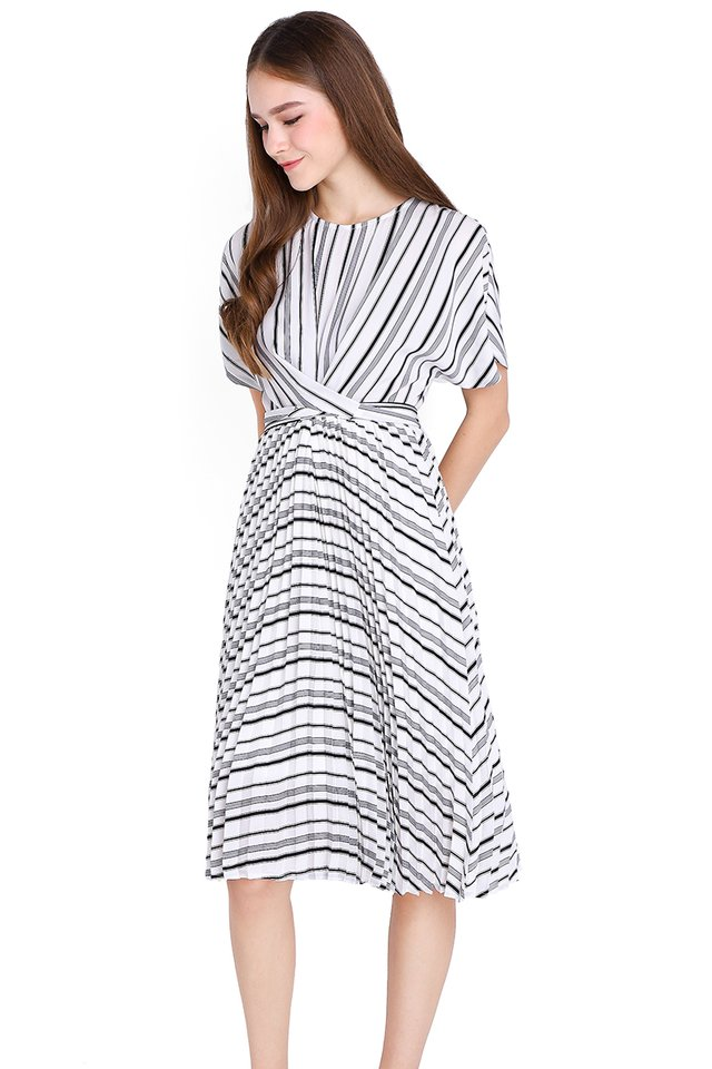 Meant To Be Dress In Monochrome Stripes