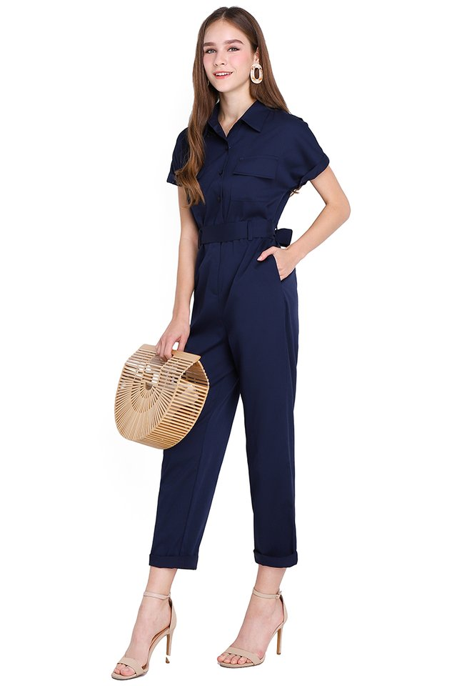 Cosmo Girl Romper In Navy Blue