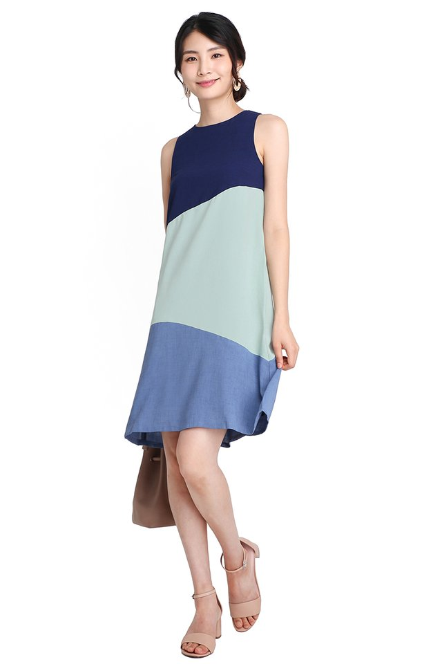 Sunny Disposition Dress In Ocean