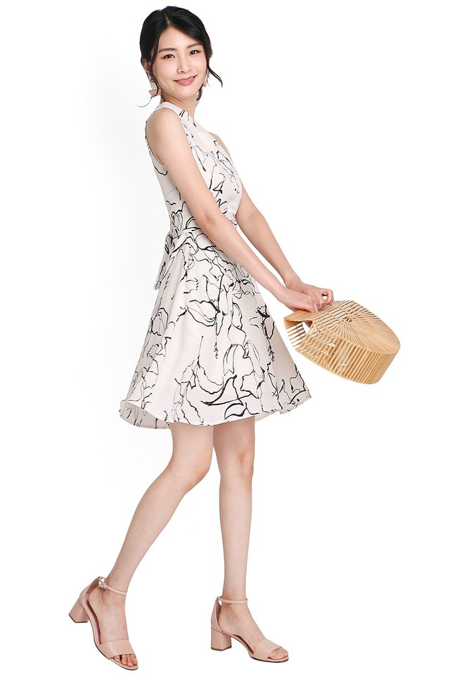 Dear Charlotte Dress In Cream Prints