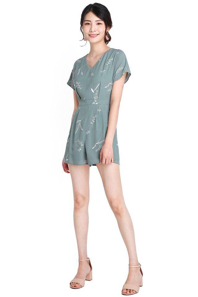 Charming Summer Romper In Jade Prints