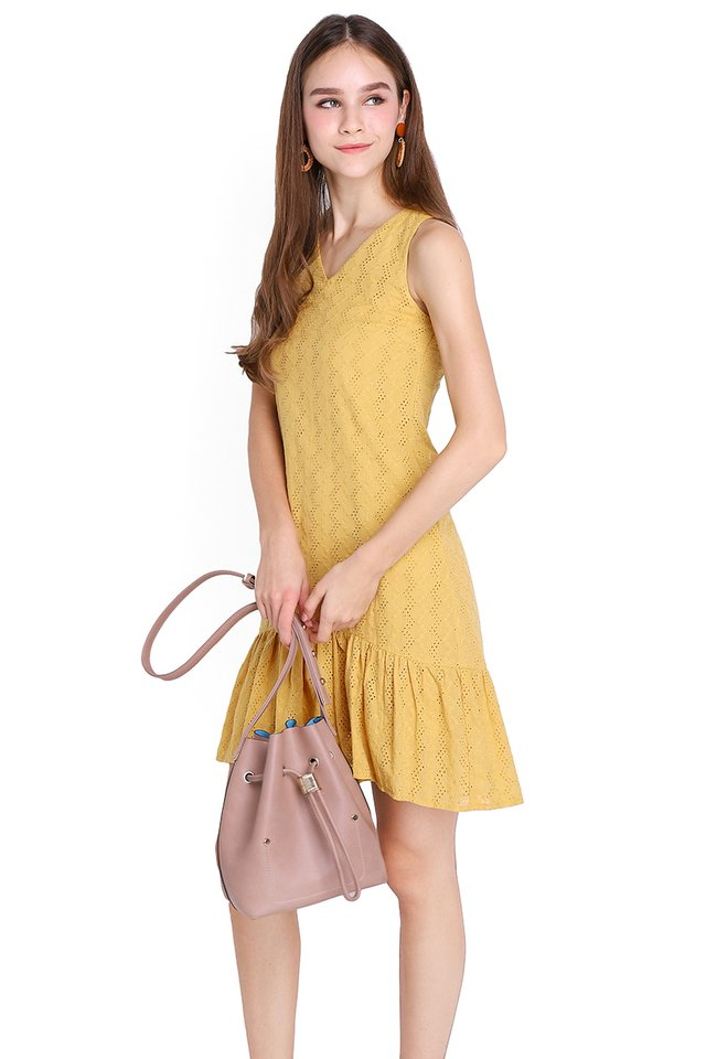 Dainty Soul Dress In Mustard Yellow