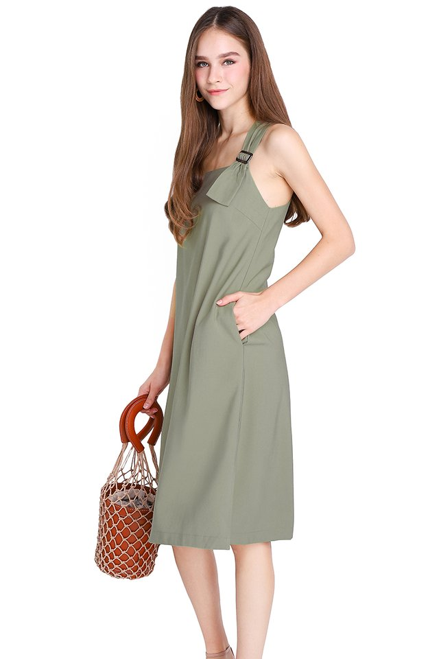 Big Girls Don't Cry Dress In Olive Green