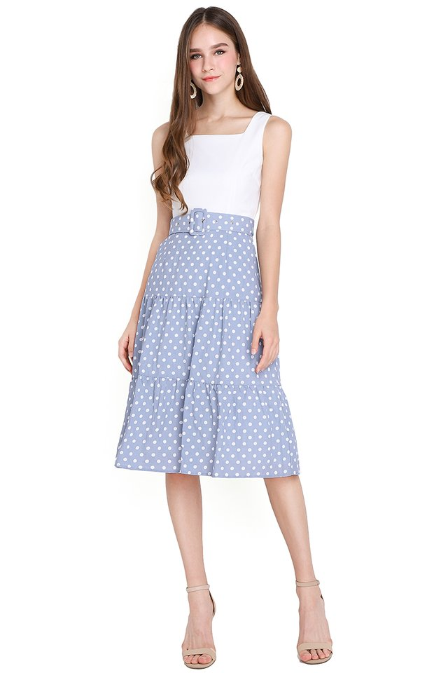 Innocent Charmer Dress In Blue Dots