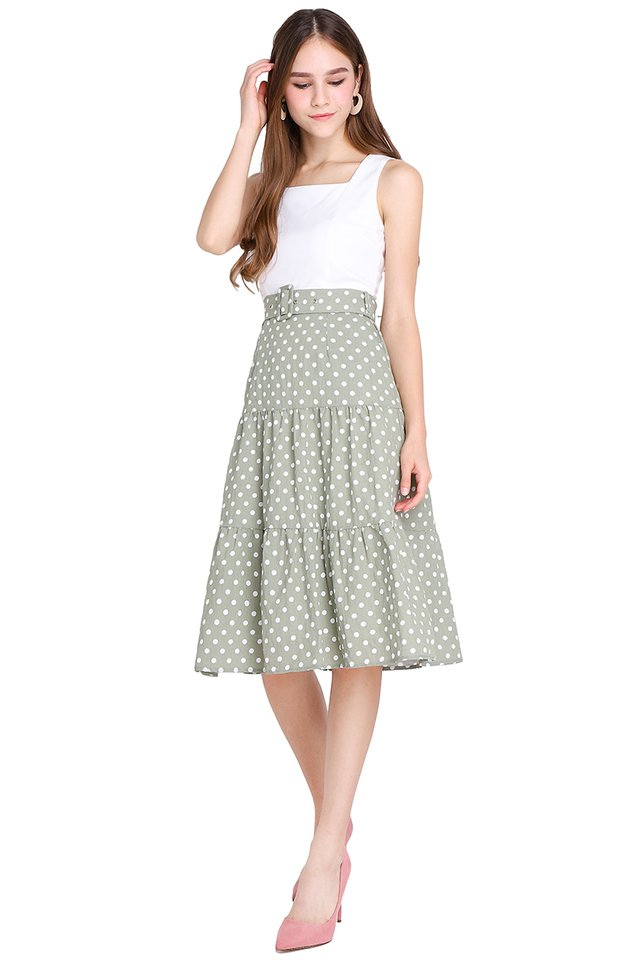 Innocent Charmer Dress In Olive Dots