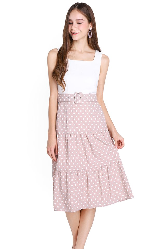 Innocent Charmer Dress In Pink Dots