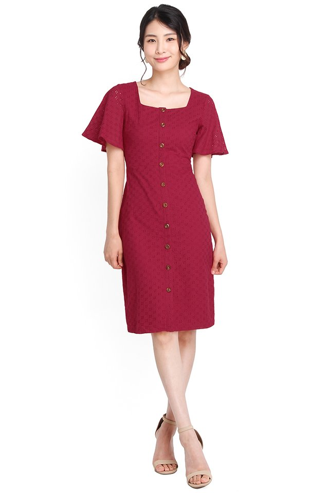 Dreamy Damsel Dress In Wine Red