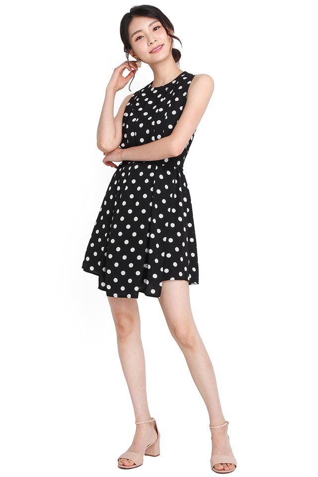 Impressive Outlook Dress In Black Dots