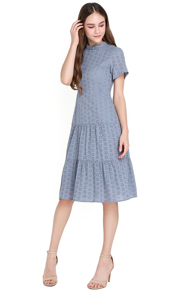 Flawless Finesse Dress In Muted Blue