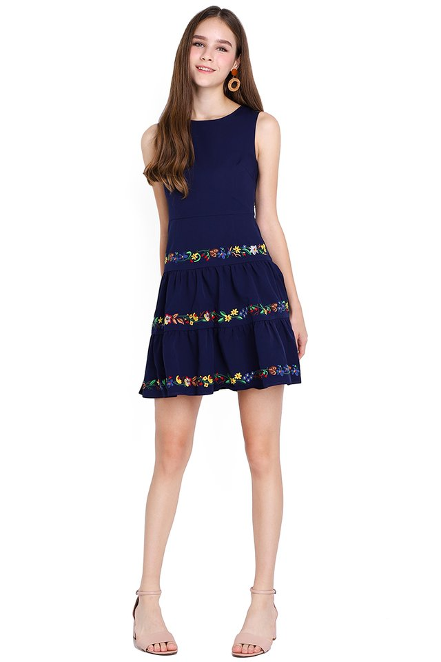 Floral Fantasy Dress In Navy Blue