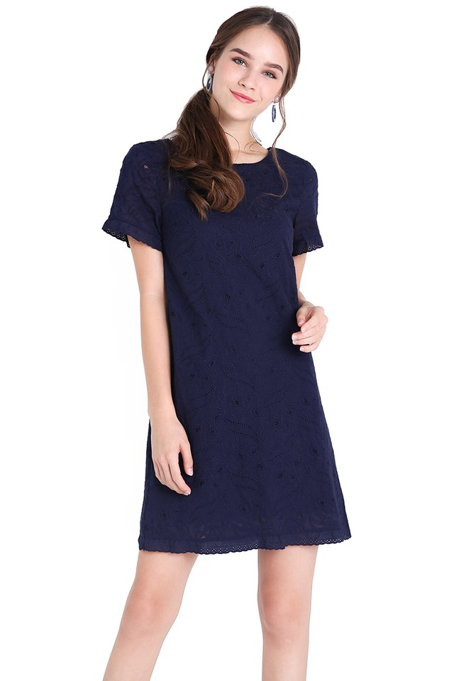 Lighthearted Affection Dress In Navy Blue