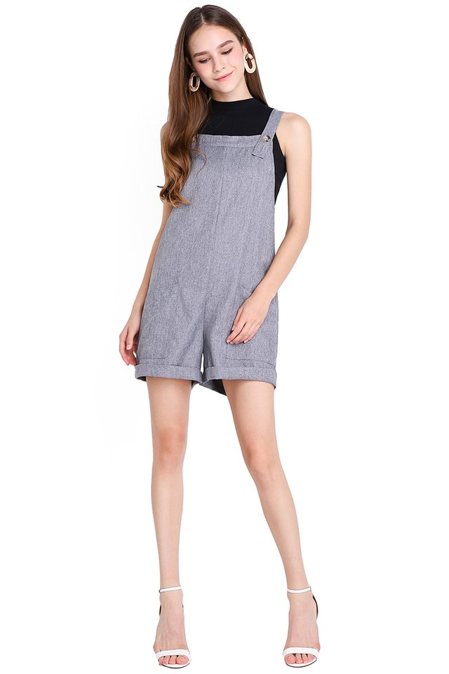 My Huckleberry Friend Romper In Heather Grey