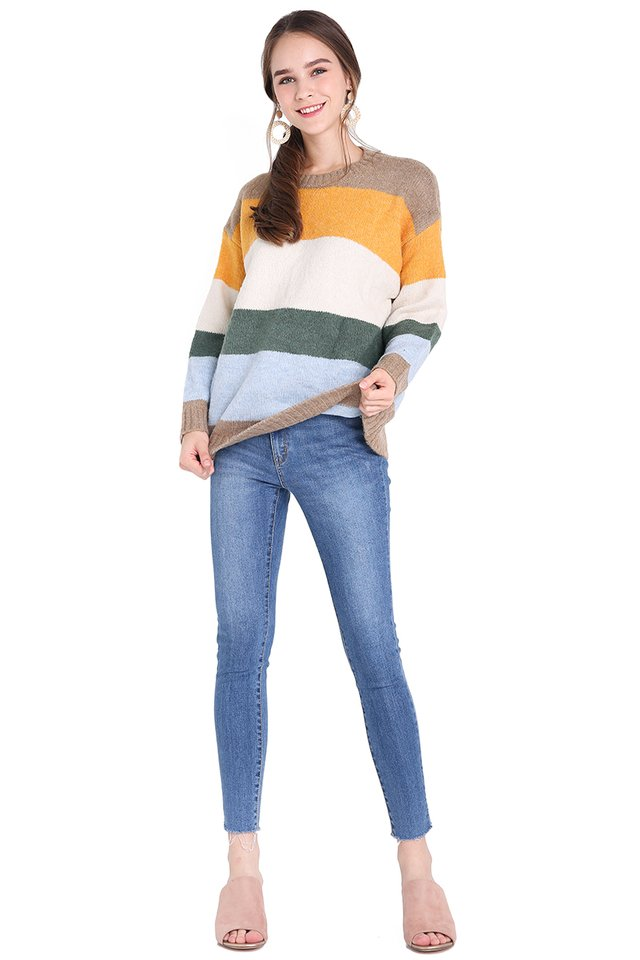 Winter Season Pullover In Multicolour Stripes
