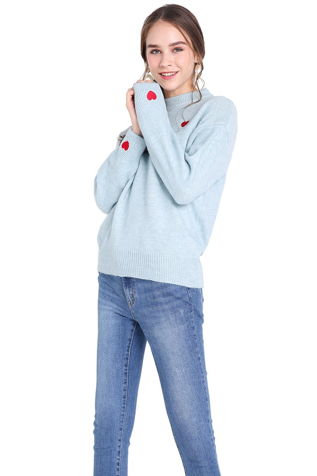 Happy Hearts Pullover In Sky Blue